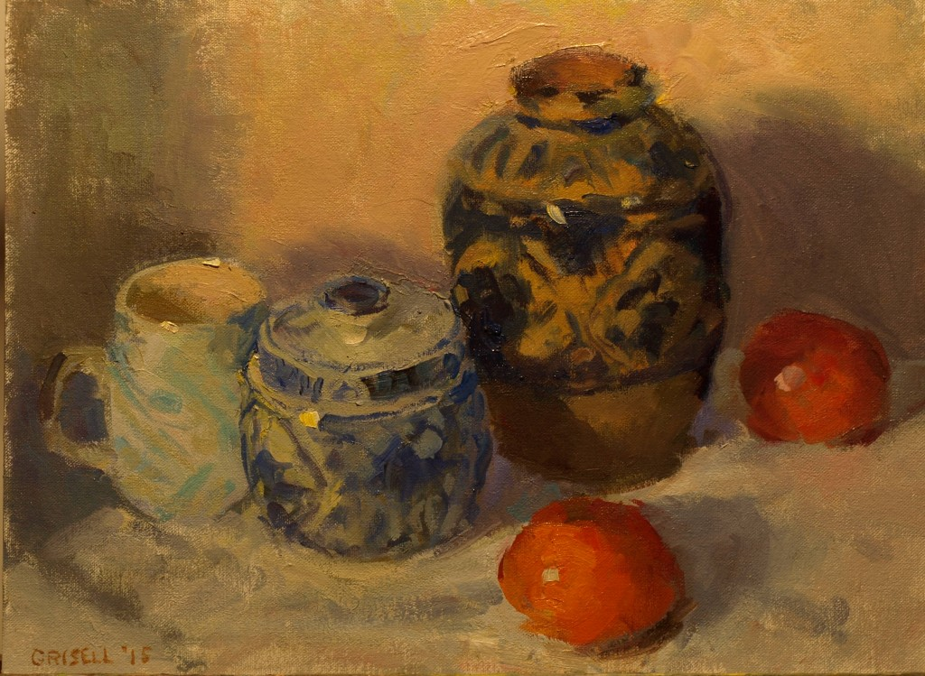 Michelle's Pottery, Oil on Canvas on Panel, 12 x 16 Inches, by Susan Grisell, $300