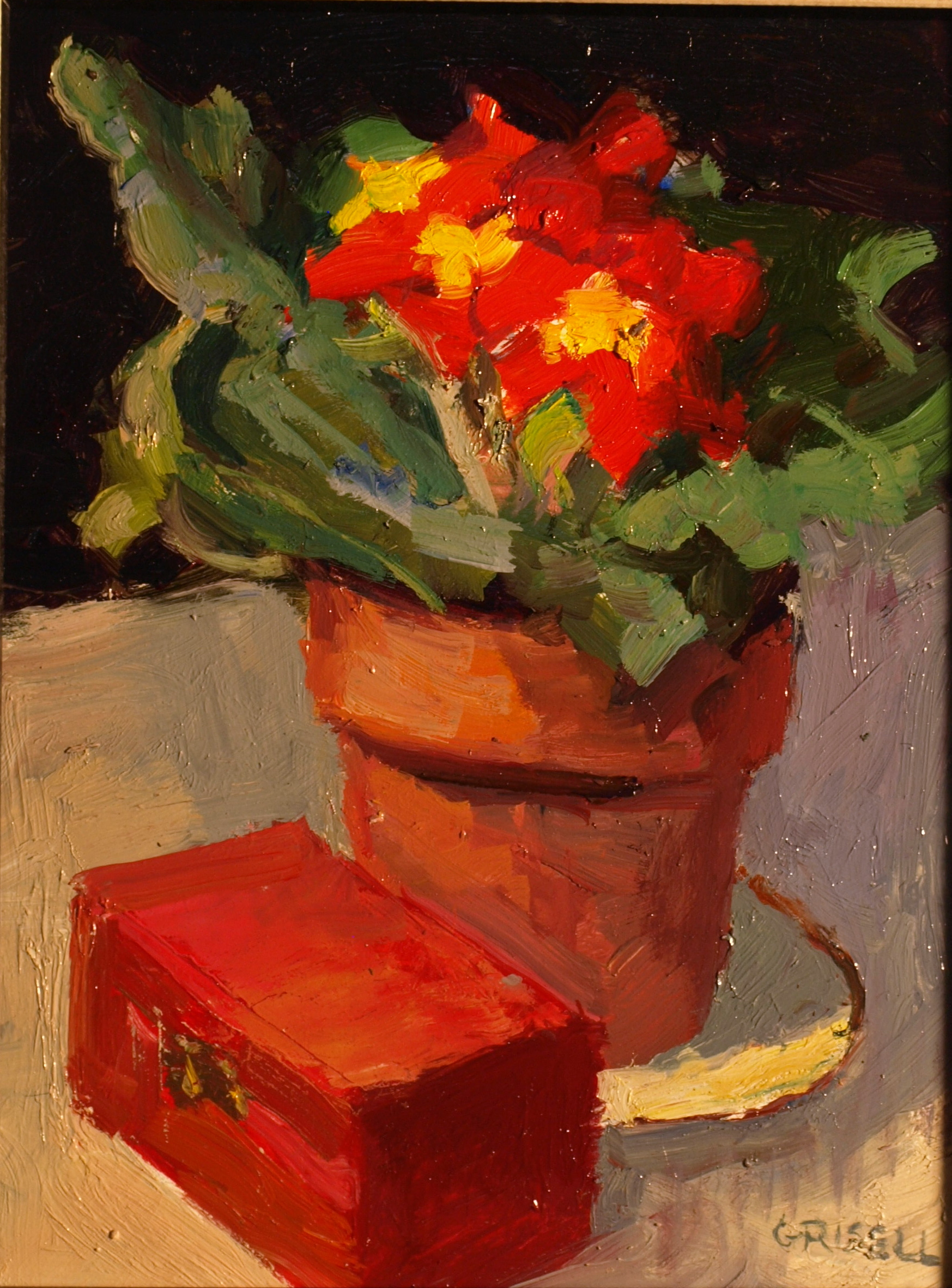 Red Primula, Oil on Panel, 10 x 8 Inches, by Susan Grisell, $200