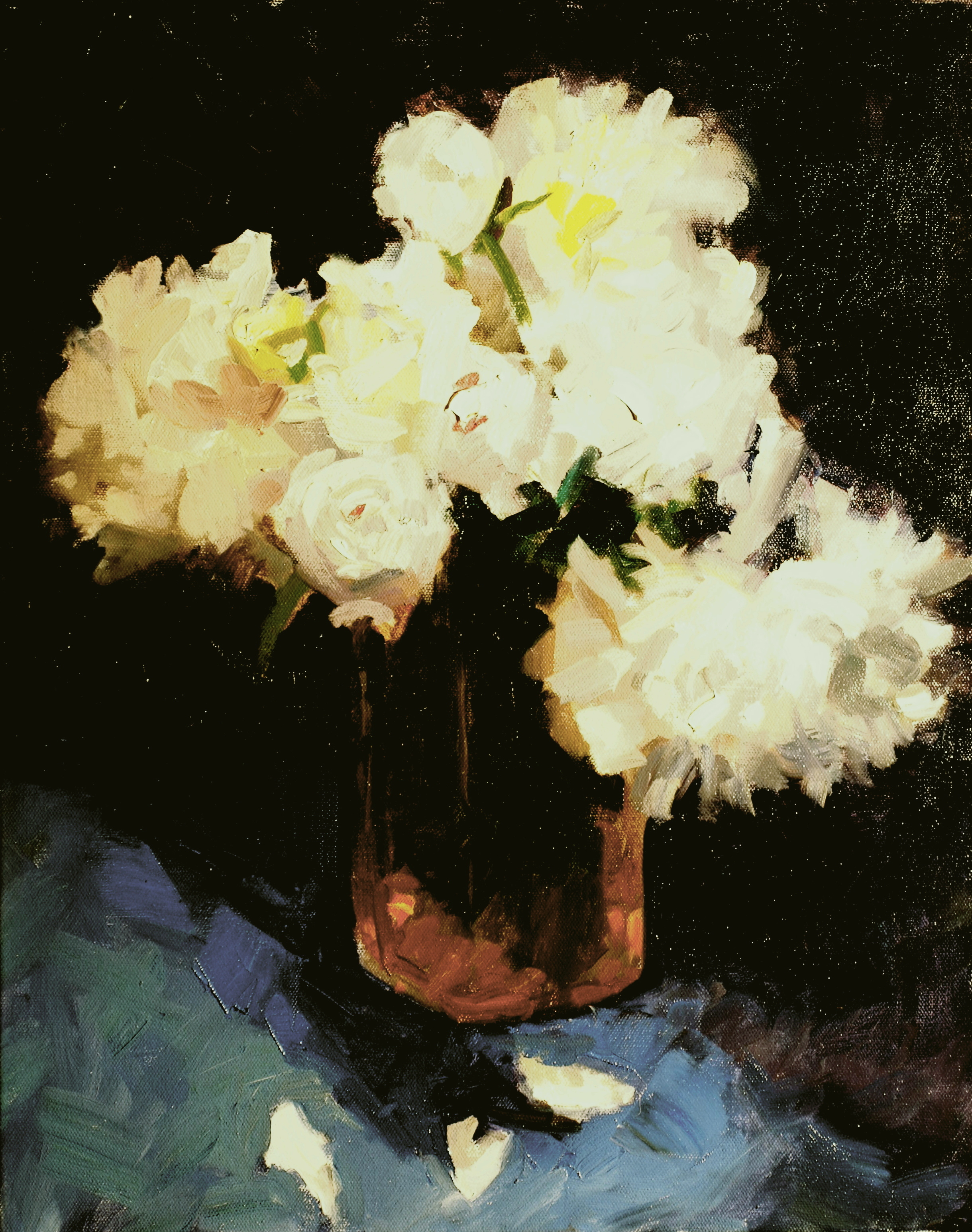 White Peonies, Oil on Canvas, 20 x 16 Inches, by Susan Grisell, $500
