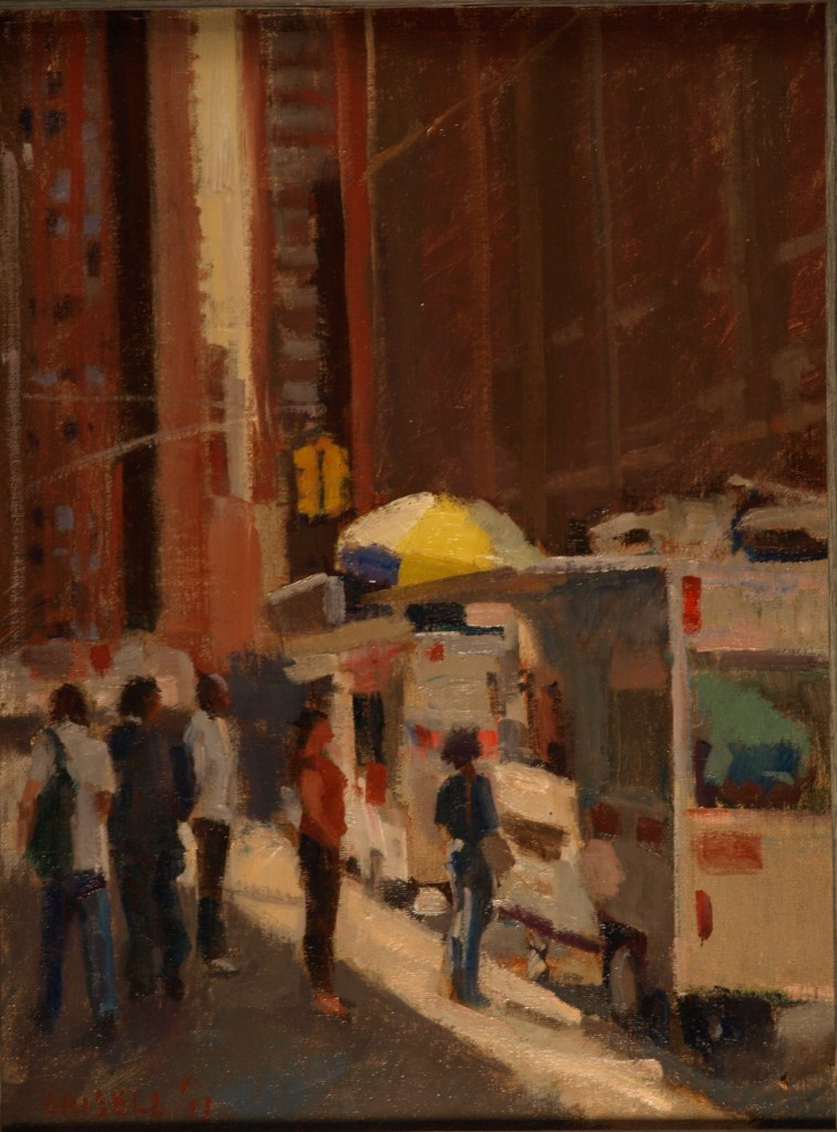 Hot Dog Stand, Oil on Canvas on Panel, 16 x 12 Inches, by Susan Grisell, $275