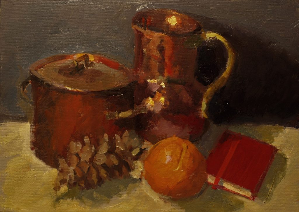 November Still Life, Oil on Panel, 12 x 16 Inches, by Susan Grisell, $325