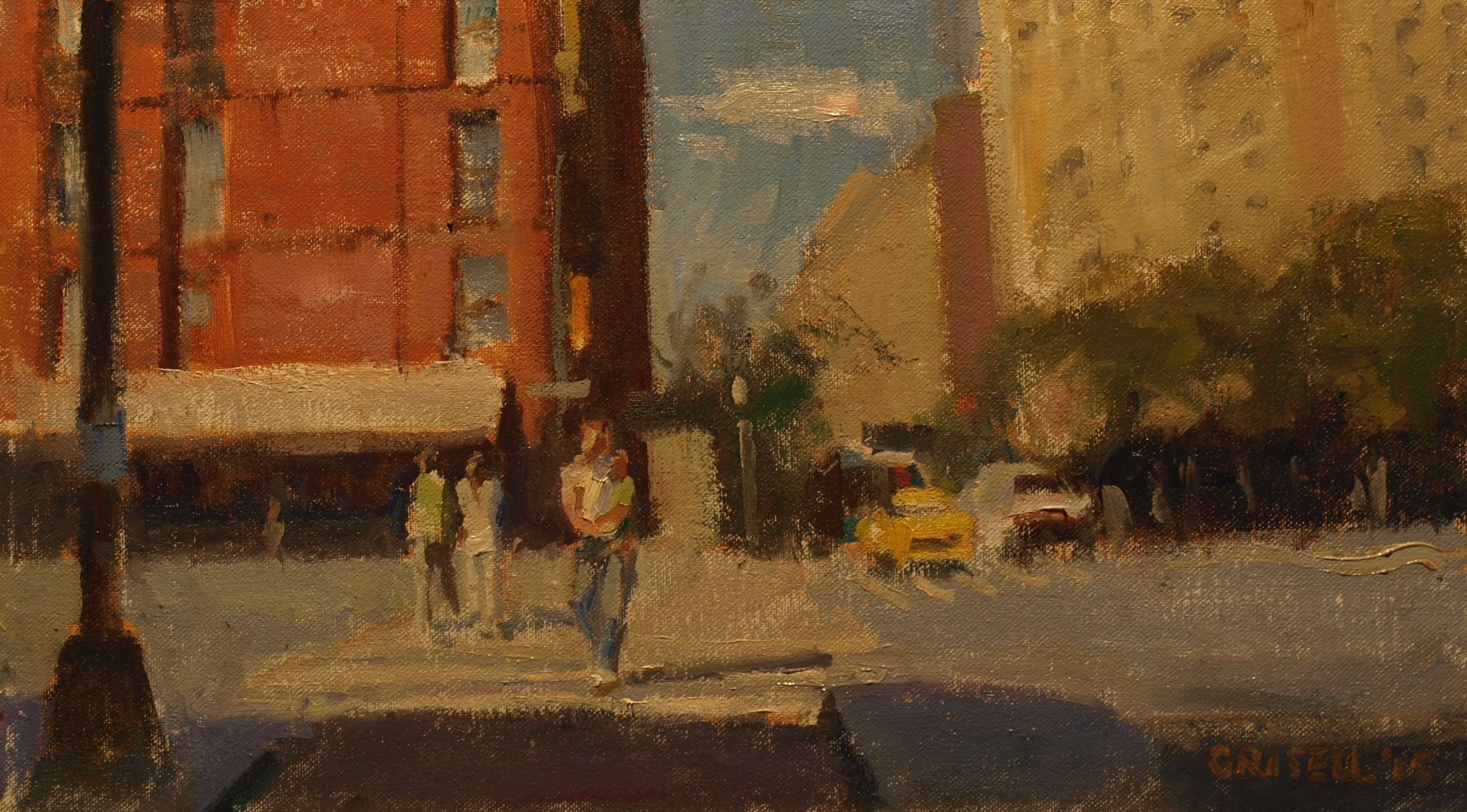 Street Crossing, Oil on Canvas on Panel, 9 x 16 Inches, by Susan Grisell, $250