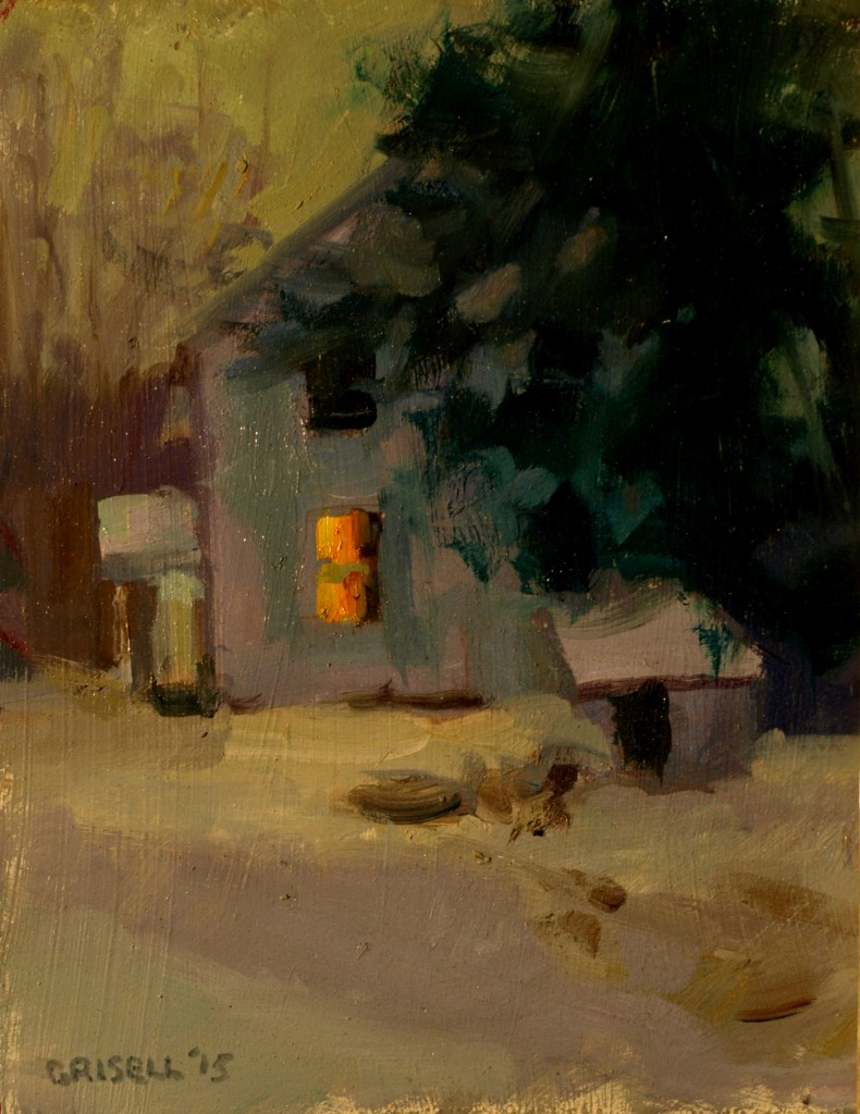 Winter Twilight, Oil on Panel, 10 x 8 Inches, by Susan Grisell, $175