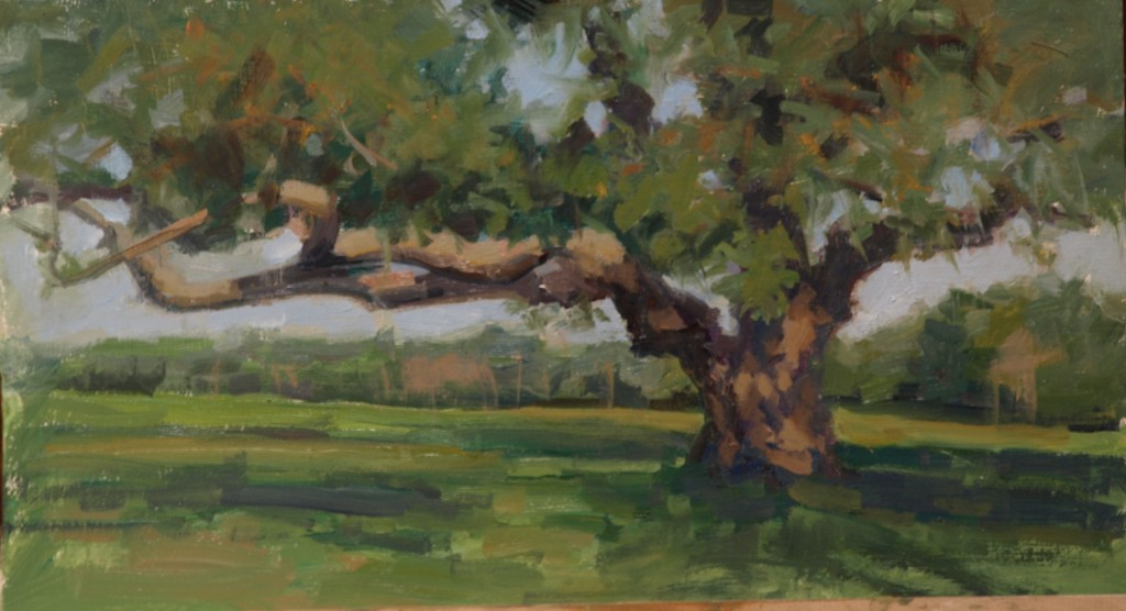 Apple Tree, Oil on Panel, 9 x 16 Inches, by Susan Grisell, $300