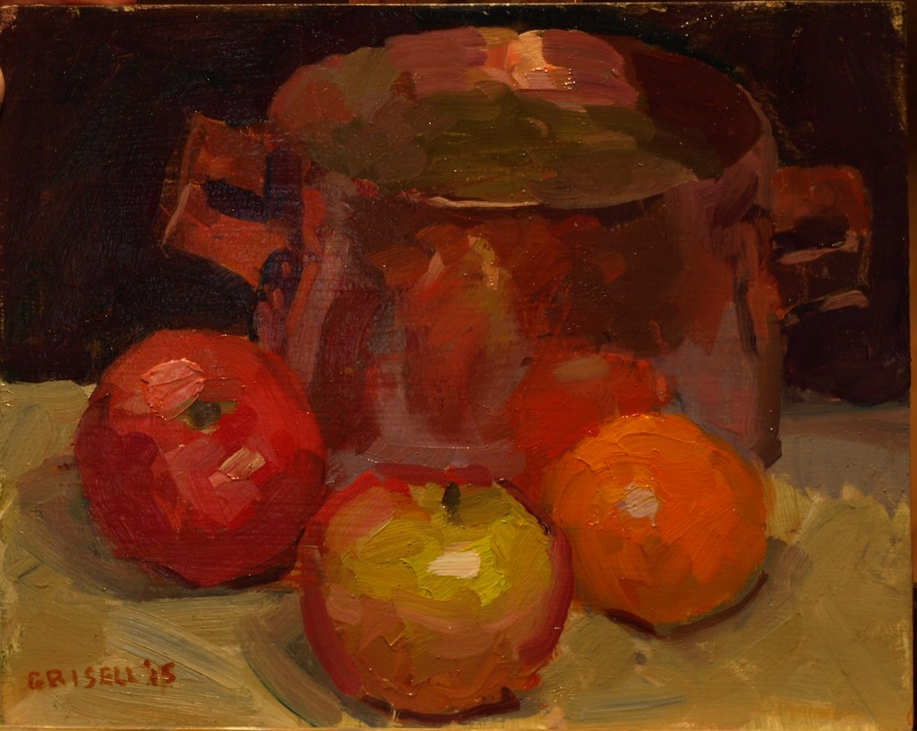 Apples and Copper, Oil on Panel, 8 x 10 Inches, by Susan Grisell, $195