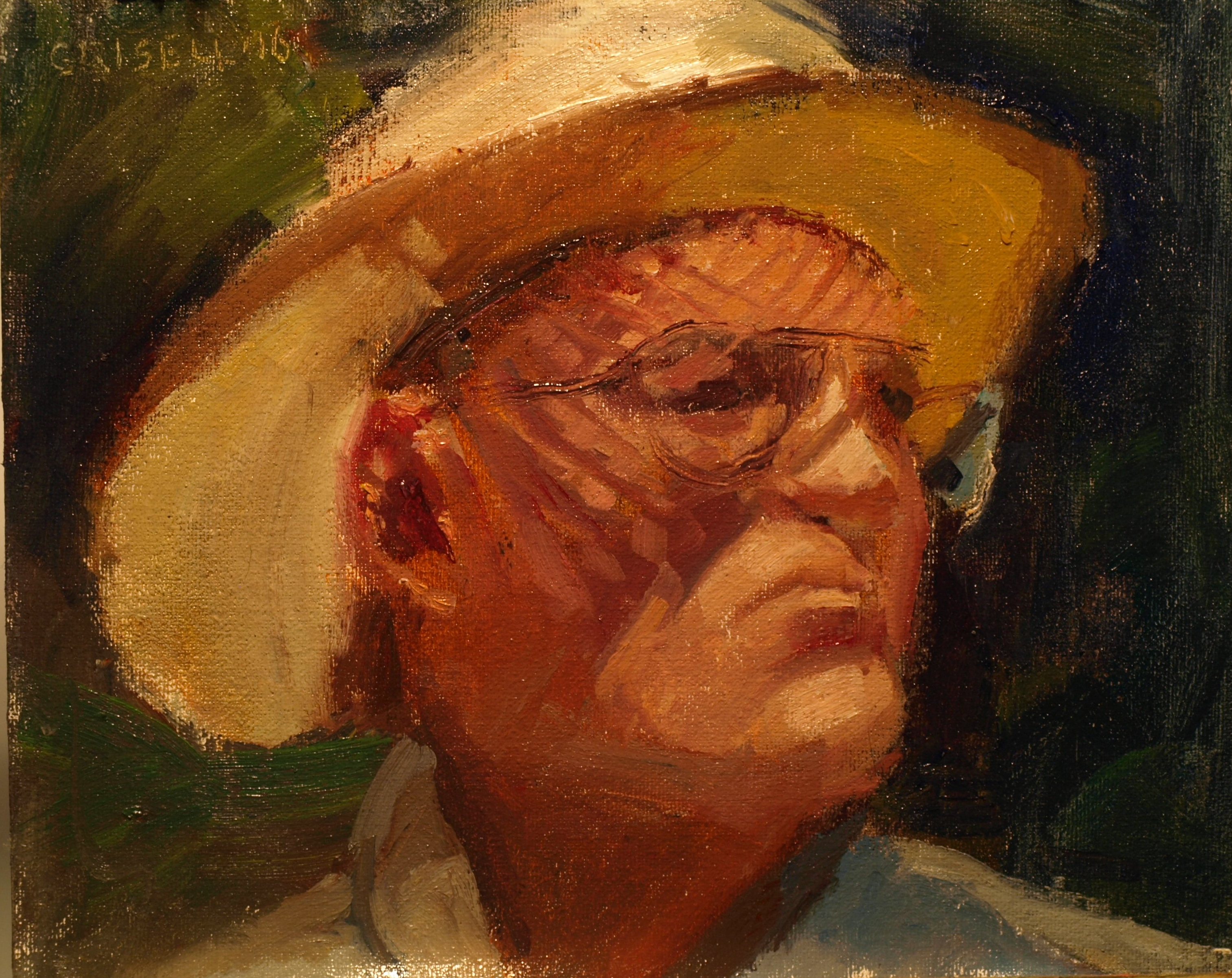 Bill's Hat, Oil on Canvas on Panel, 8 x 10 Inches, by Susan Grisell, $200
