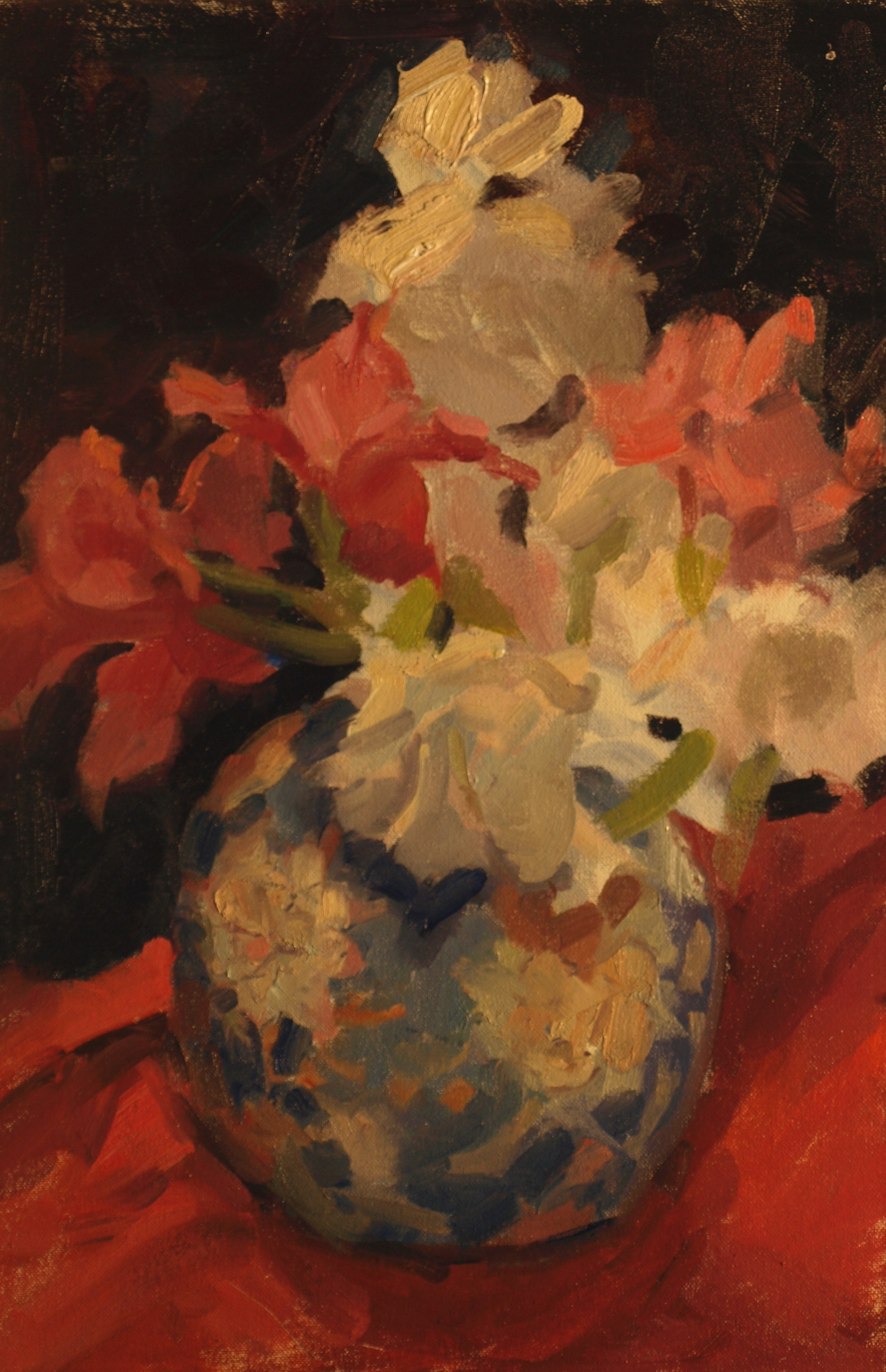 Gladiolas and Ginger Jar, Oil on Canvas on Panel, 18 x 12 Inches, by Susan Grisell, $325