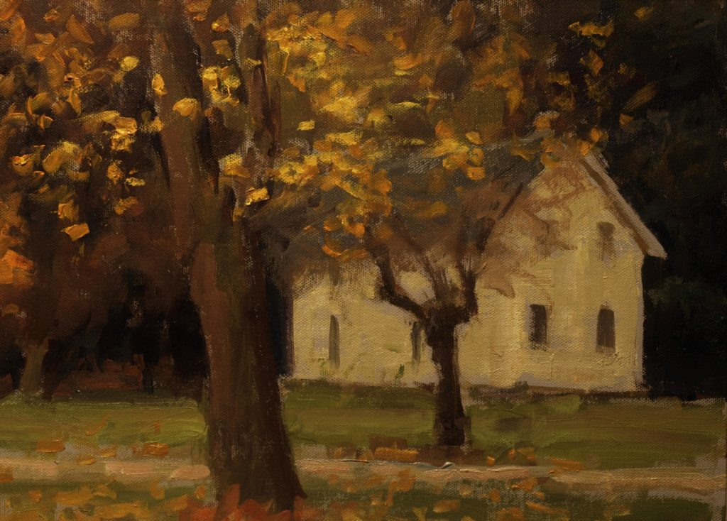 House in South Kent, Oil on Panel, 12 x 16 Inches, by Susan Grisell, $325