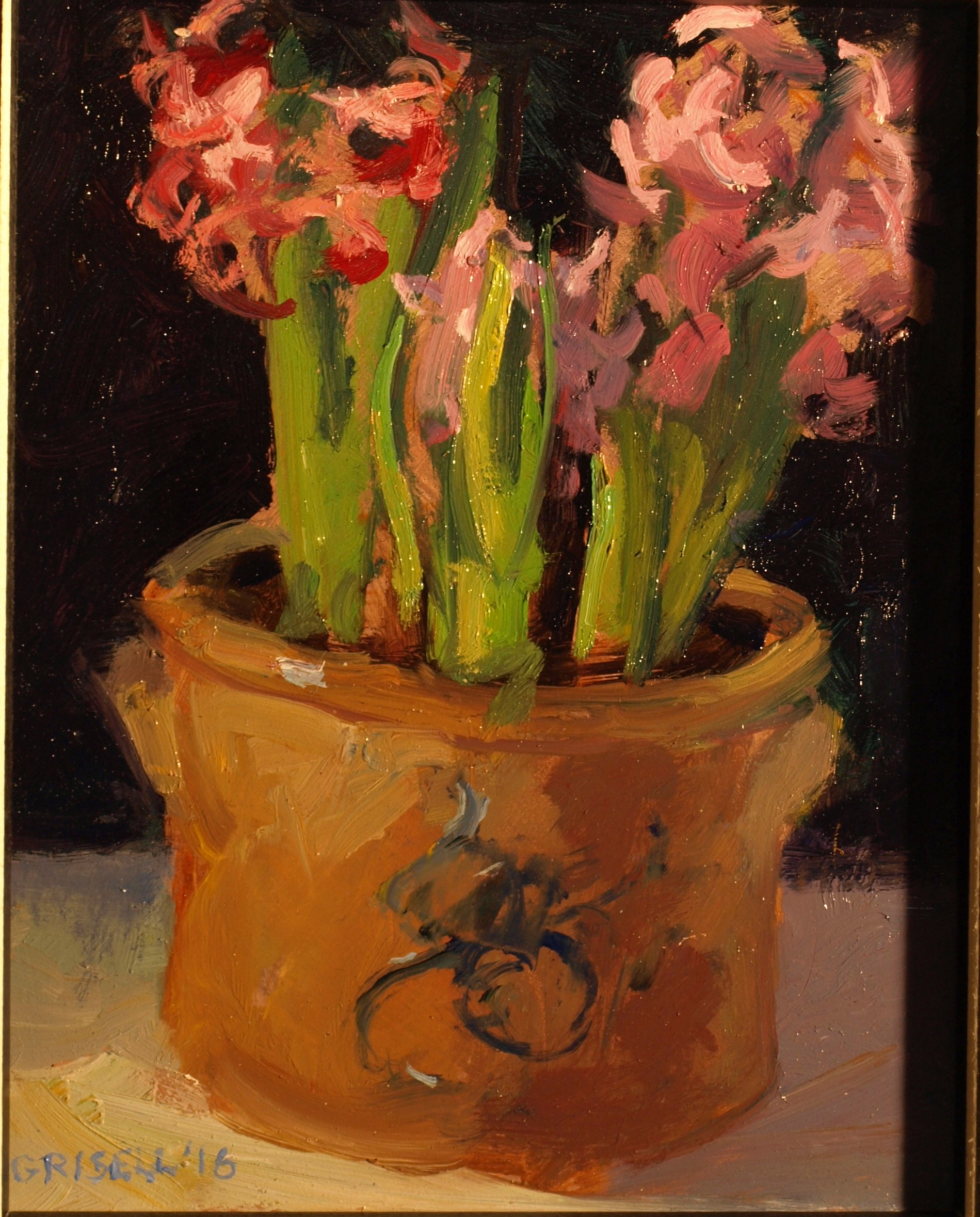Pink Hyacinths, Oil on Panel, 10 x 8 Inches, by Susan Grisell, $200