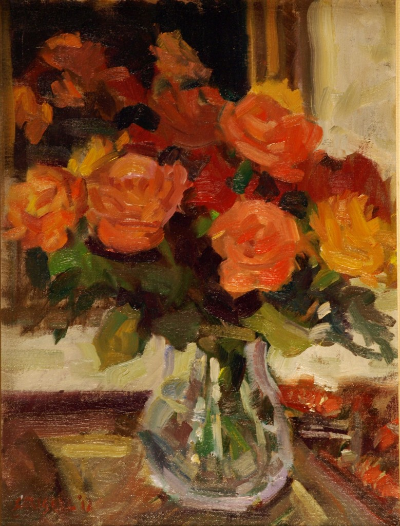 Roses and Mirror, Oil on Canvas on Panel, 16 x 12 Inches, by Susan Grisell, $275
