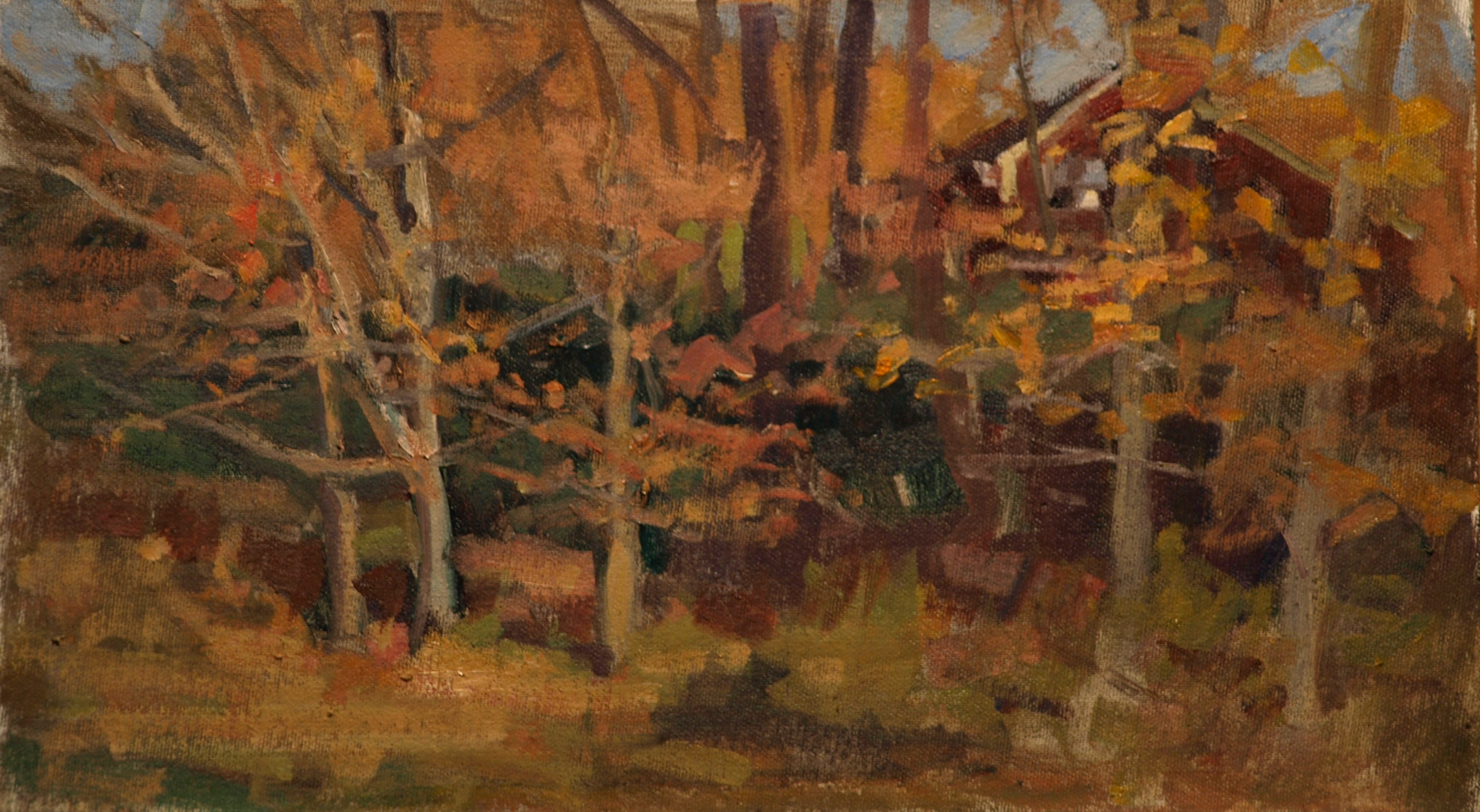 View of Home, Oil on Canvas on Panel, 9 x 16 Inches, by Susan Grisell, $250