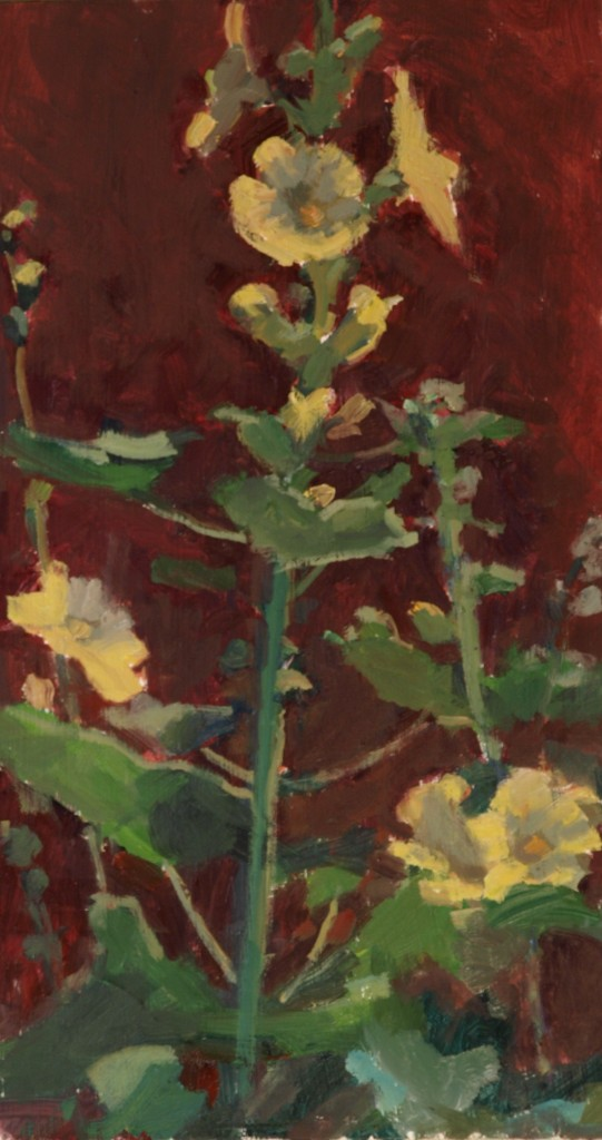 Yellow Hollyhocks, Oil on Panel, 16 x 9 Inches, by Susan Grisell, $315
