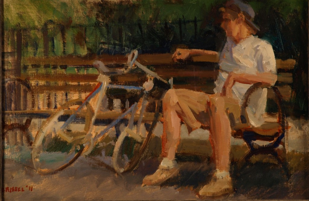 Cyclist Resting, Oil on Canvas on Panel, 12 x 18 Inches, by Susan Grisell, $275