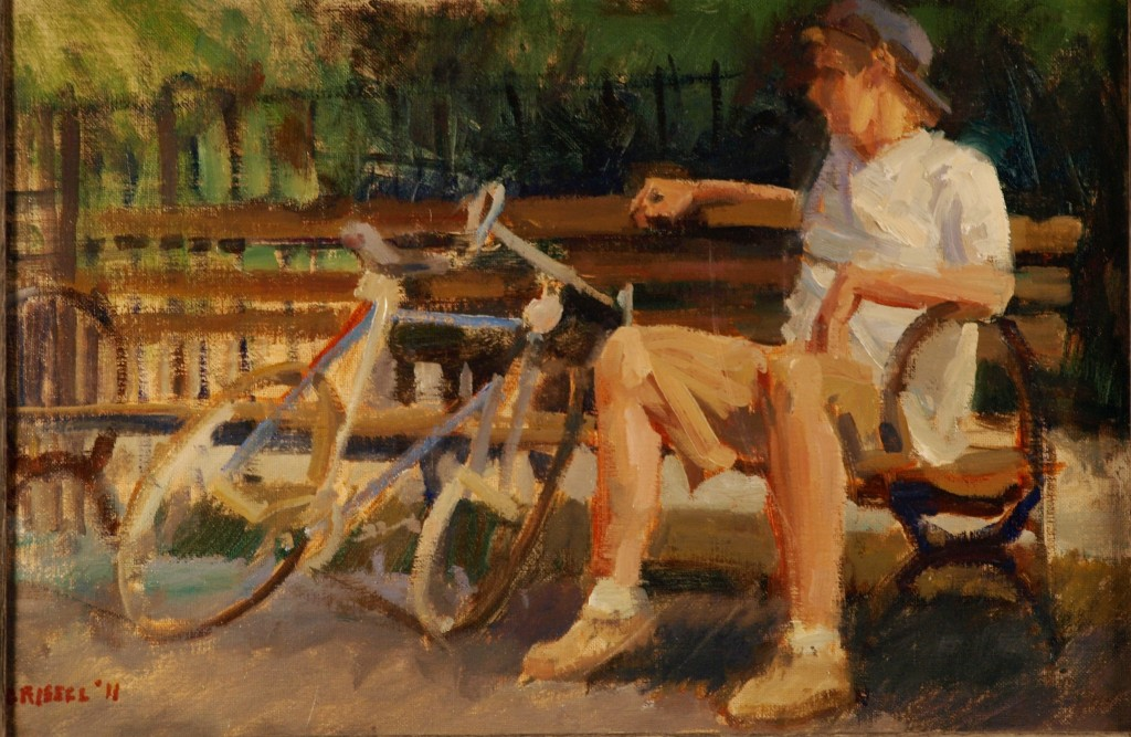 Cyclist Resting, Oil on Canvas on Panel, 12 x 18 Inches, Susan Grisell, $275