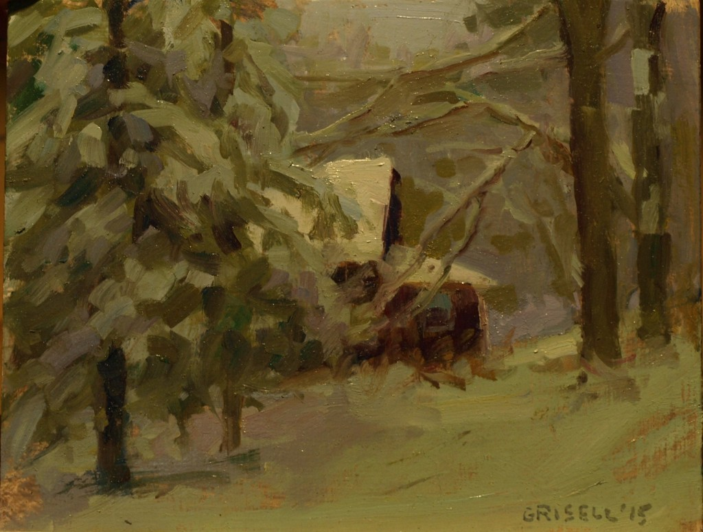 Fresh Snow, Oil on Panel, 8 x 10 Inches, by Susan Grisell, $200
