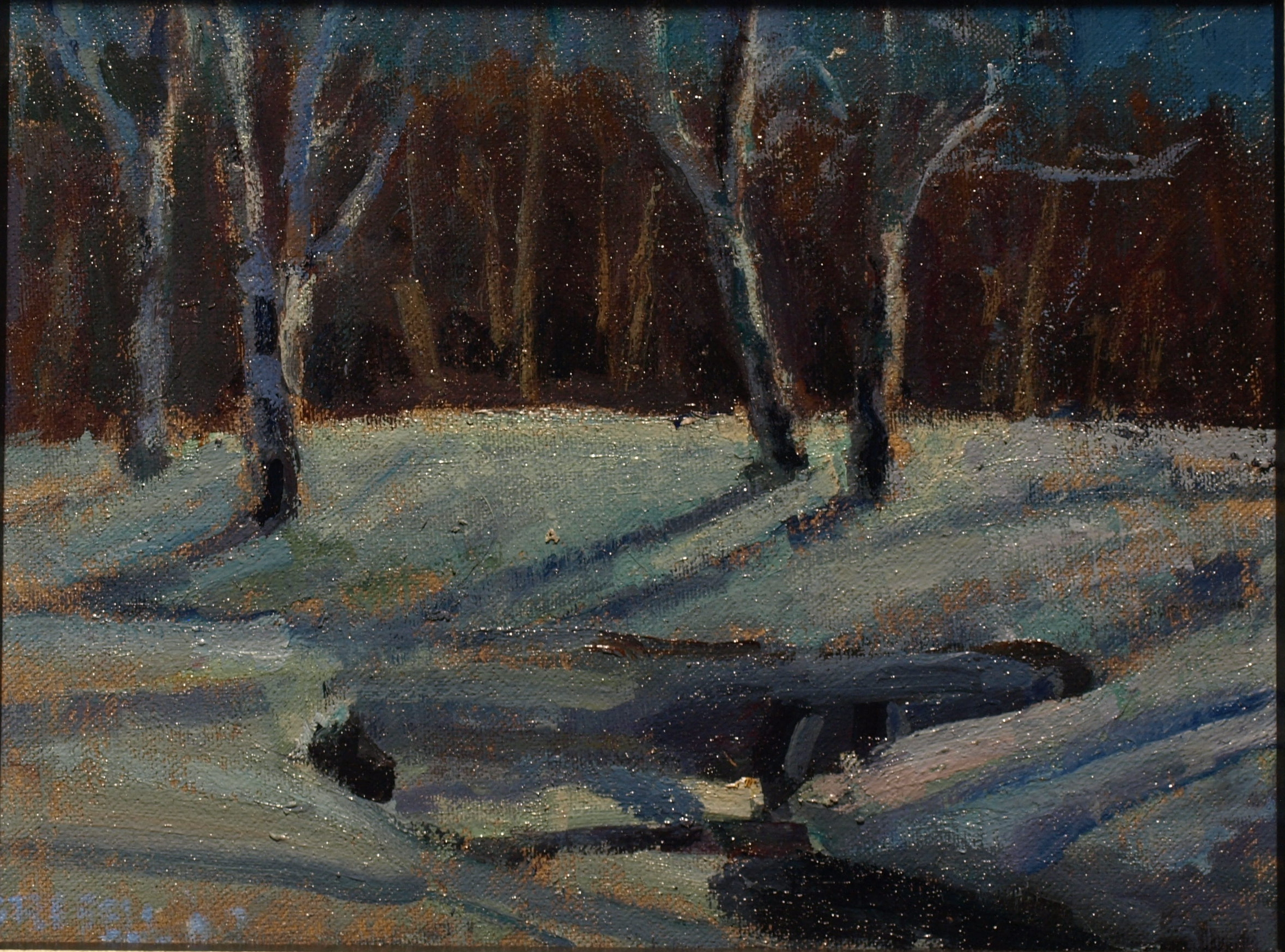 Moonlit Birches, Oil on Canvas on Panel, 8 x 10 Inches, by Susan Grisell, $200