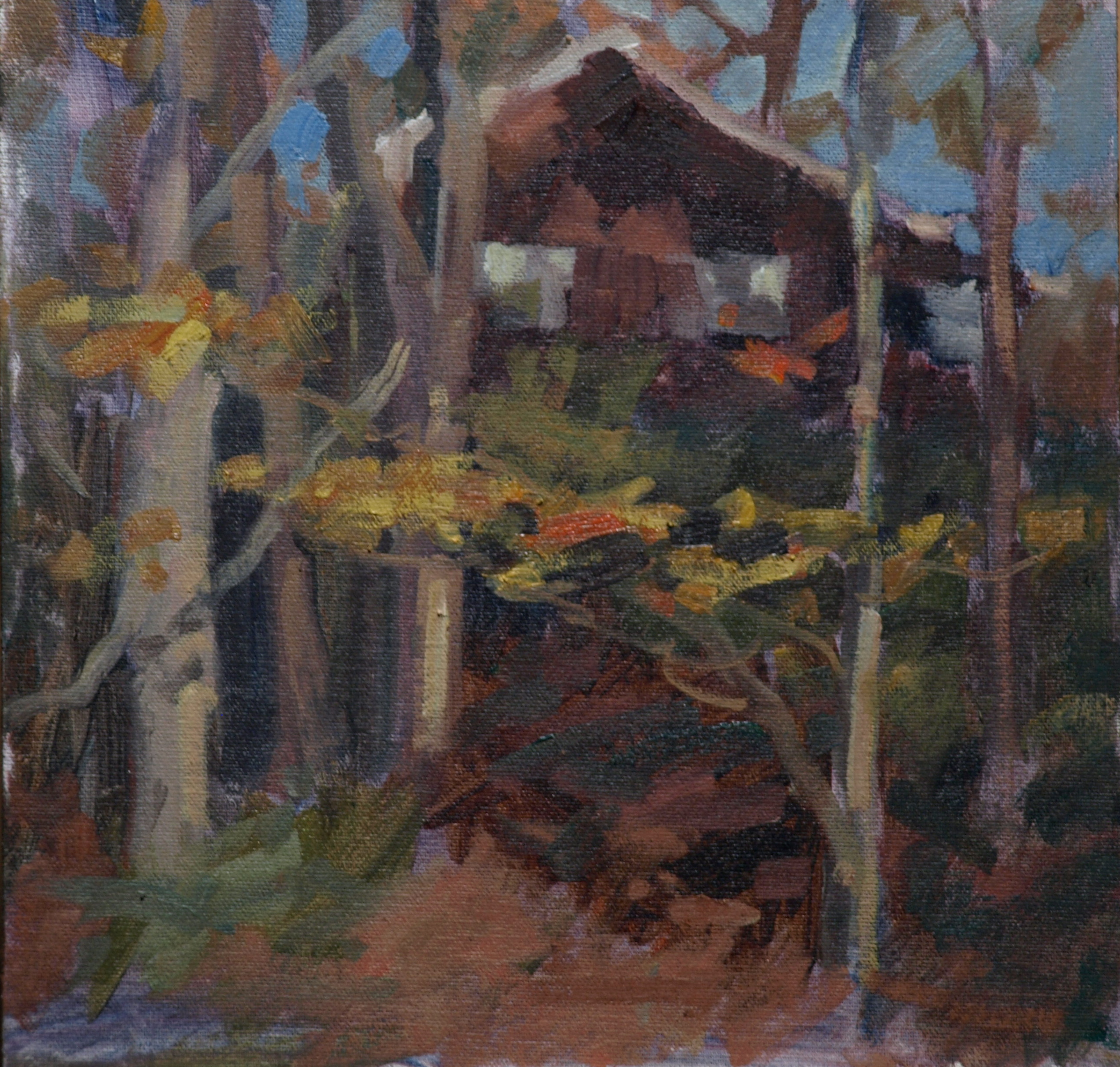 October Leaves, Oil on Canvas on Panel, 12 x 12 Inches, by Susan Grisell, $250