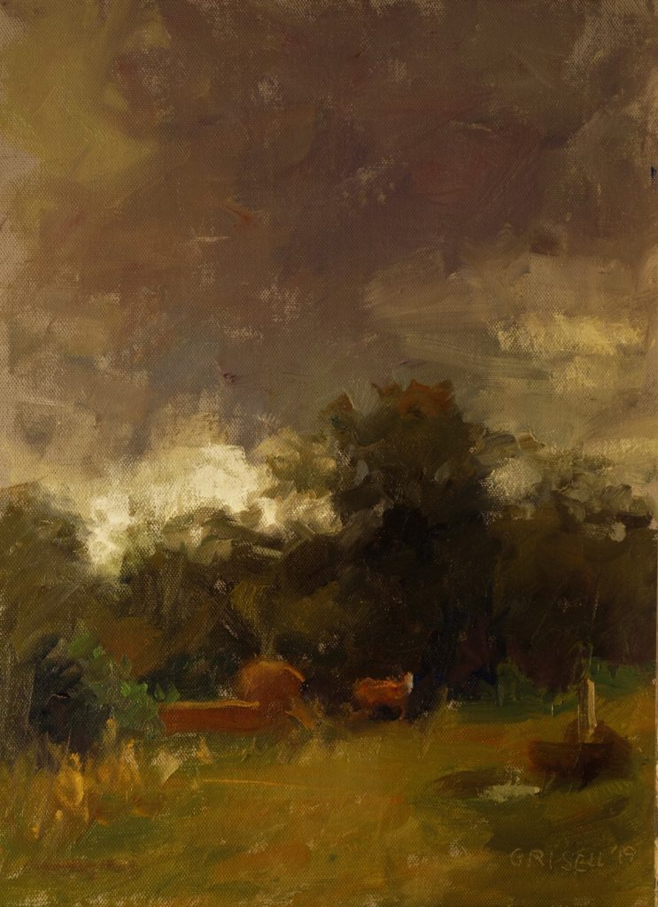 Under Dark Clouds, Oil on Panel, 16 x 12 Inches, by Susan Grisell, $325