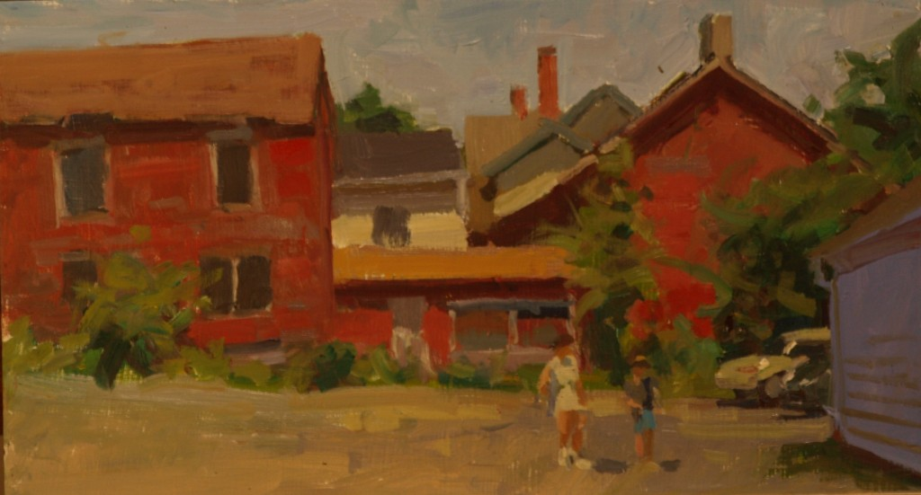 Barns - New Milford, Oil on Panel, 9 x 16 Inches, by Susan Grisell, $315