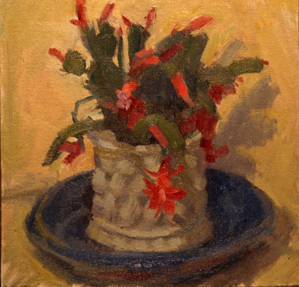 Christmas Cactus, Oil on Canvas on Panel, 12 x 12 Inches, by Susan Grisell, $250