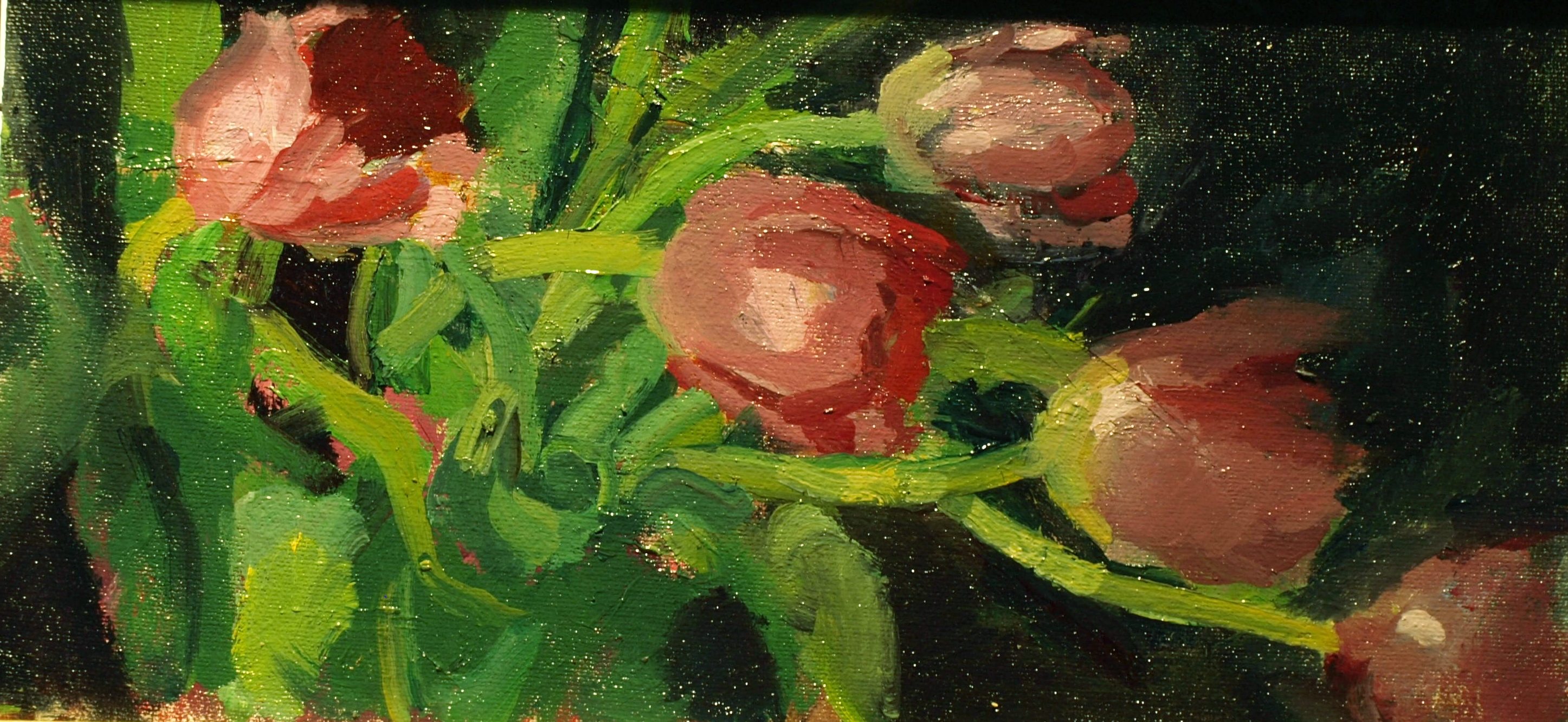 Dancing Tulips, Oil on Canvas on Panel, 6 x 12 Inches, by Susan Grisell, $200