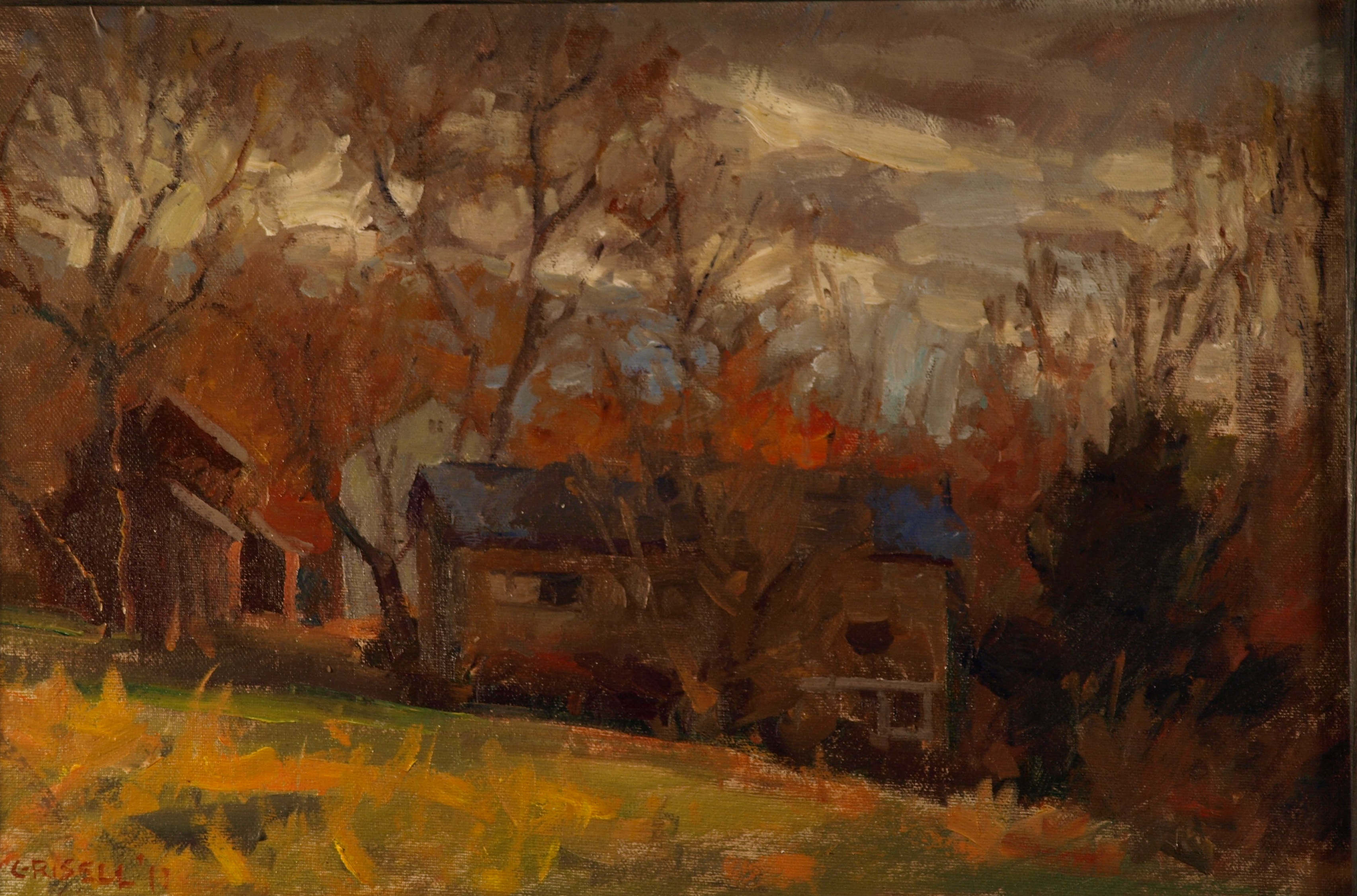 Dark Clouds, Oil on Canvas on Panel, 12 x 18 Inches, by Susan Grisell, $275