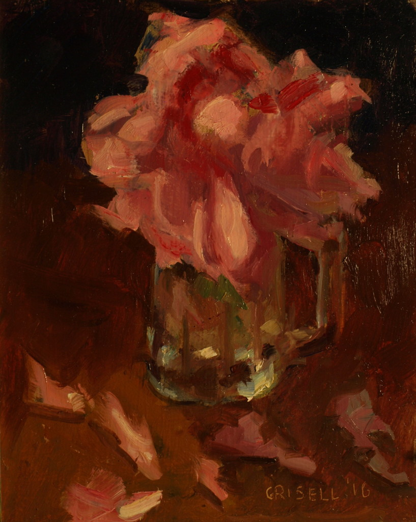 Single Peony, Oil on Panel, 10 x 8 Inches, by Susan Grisell, $200