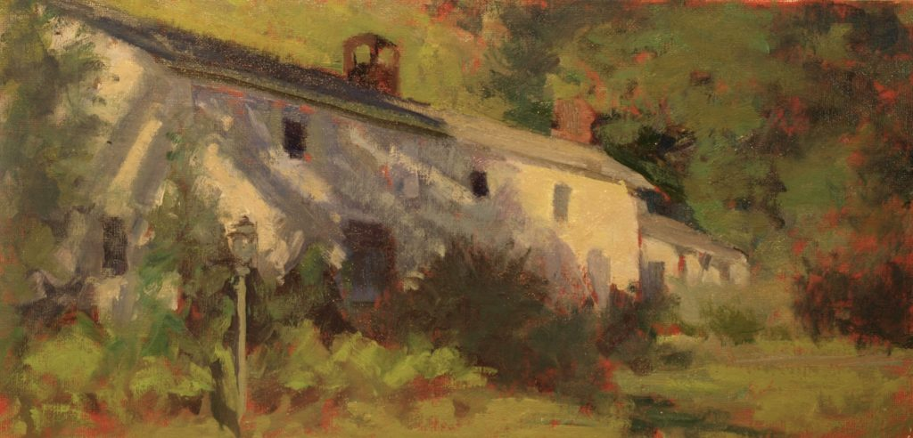 Susan's House, Oil on Panel, 10 x 20 Inches, by Susan Grisell, $400