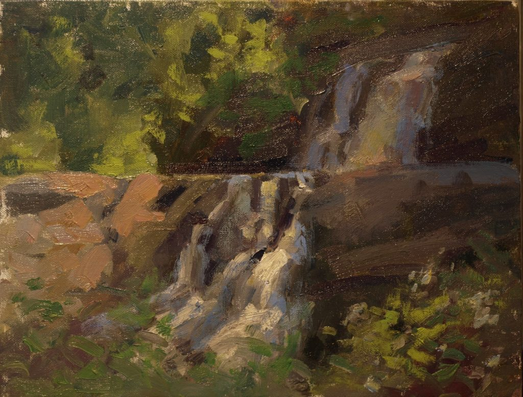 Waterfall, Oil on Panel, 11 x 14 Inches, by Susan Grisell, $275