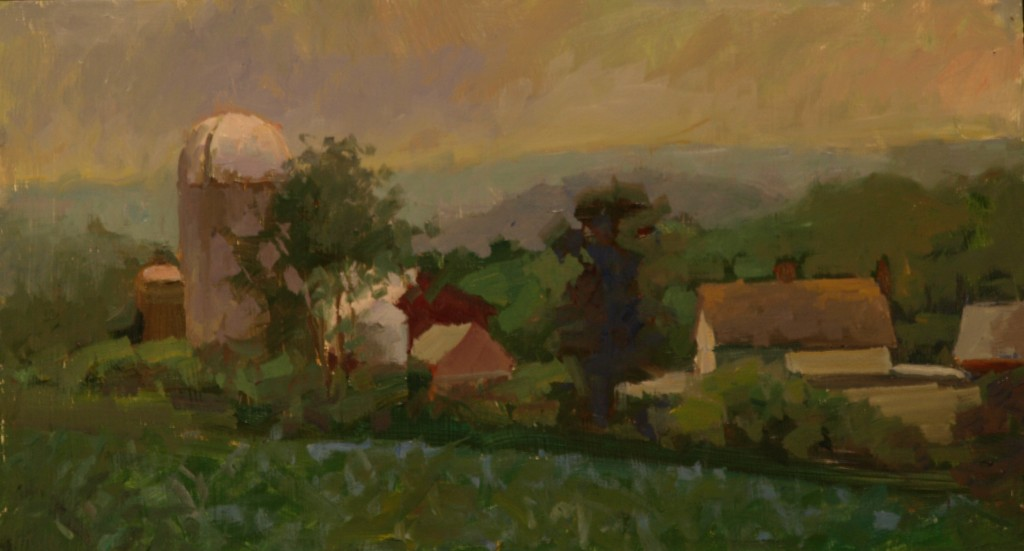 Tanner's Farm, Oil on Panel, 9 x 16 Inches, by Susan Grisell, $325