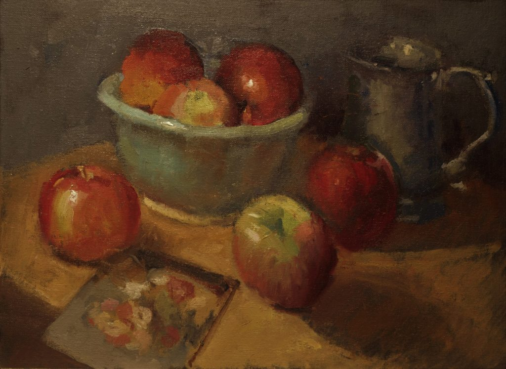Apples and Green Bowl, Oil on Panel, 12 x 16 Inches, by Susan Grisell, $325