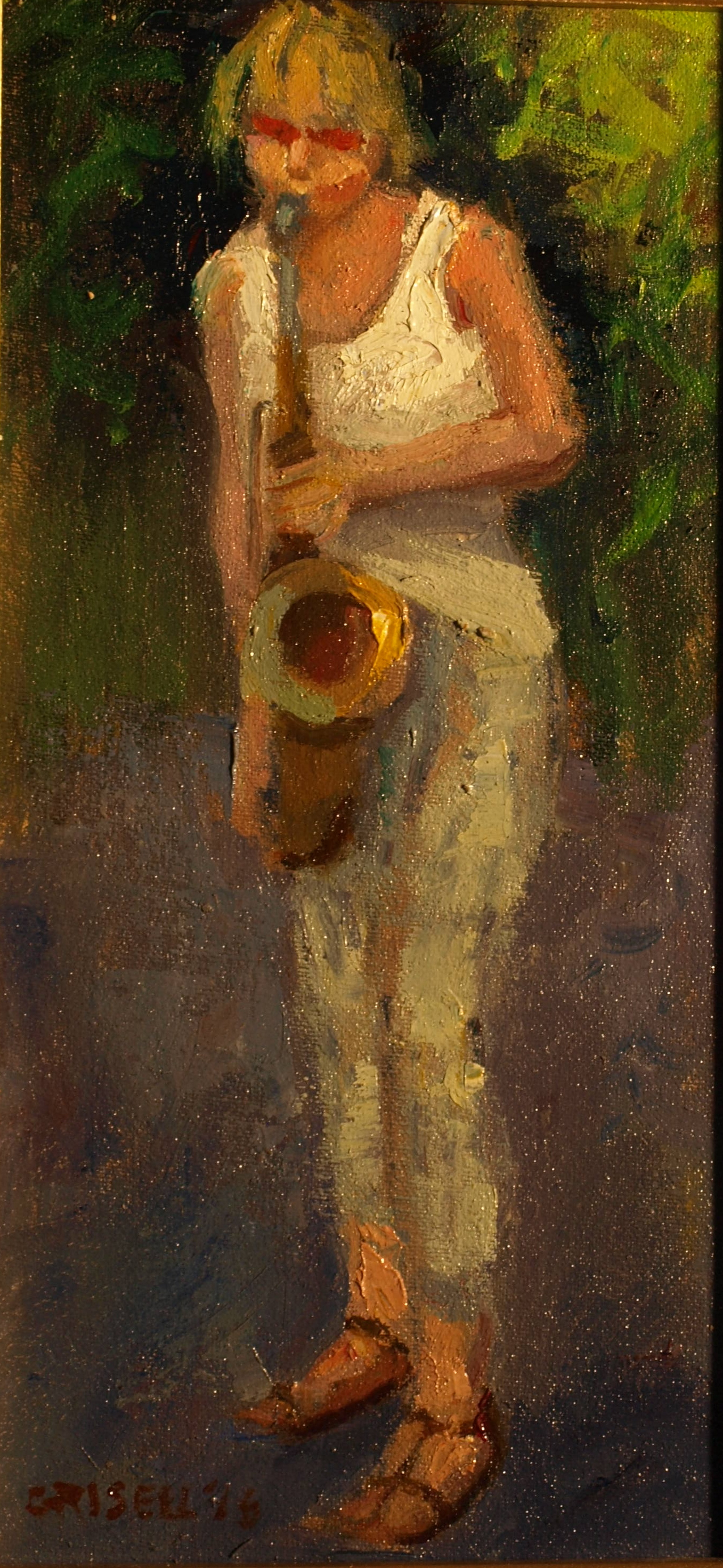 Saxophone Player, Oil on Canvas on Panel, 12 x 6 Inches, by Susan Grisell, $150