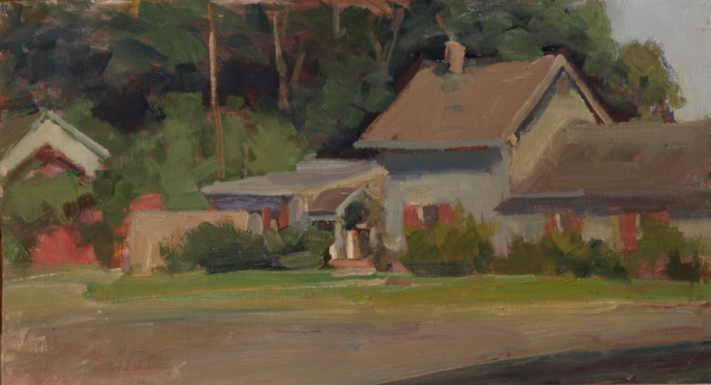 Laurie's House, Oil on Panel, 9 x 16 Inches, by Susan Grisell, $300