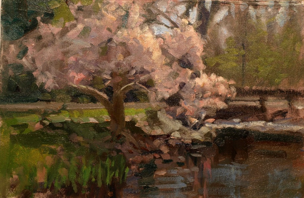 Brook in May, Oil on Canvas on Panel, 12 x 18 Inches, by Susan Grisell, $275