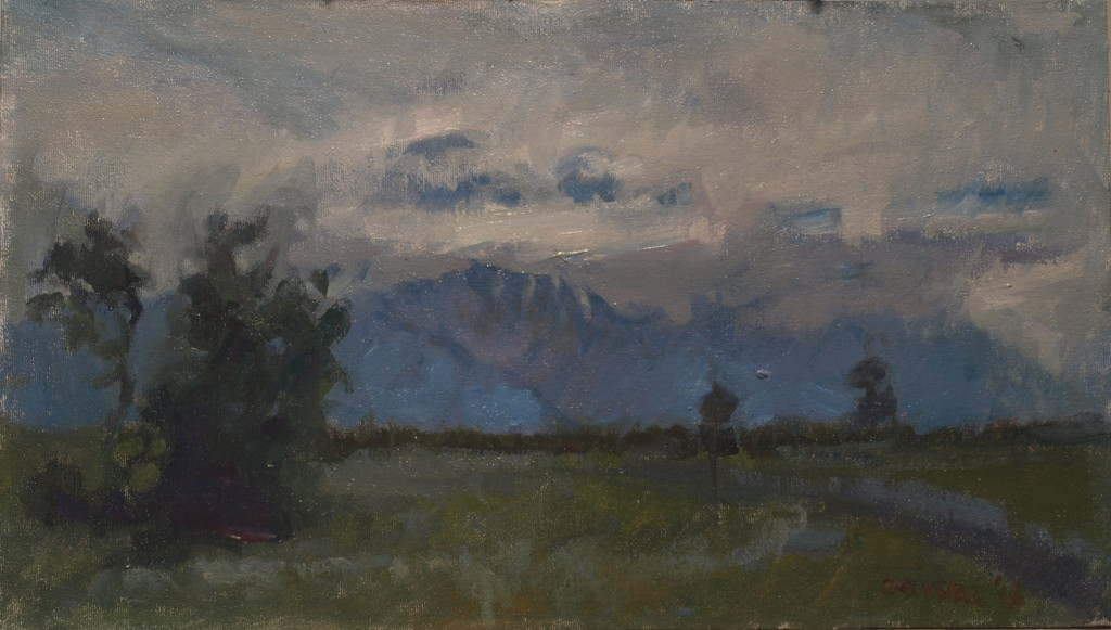 Clouds and Mountains, Oil on Canvas on Panel, 9 x 16 Inches, by Susan Grisell, $275