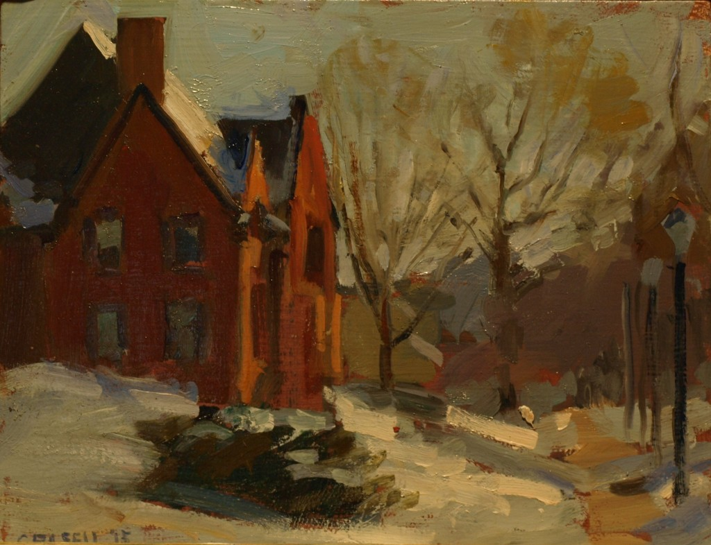 New Milford Library, Oil on Panel, 8 x 10 Inches, by Susan Grisell, $200