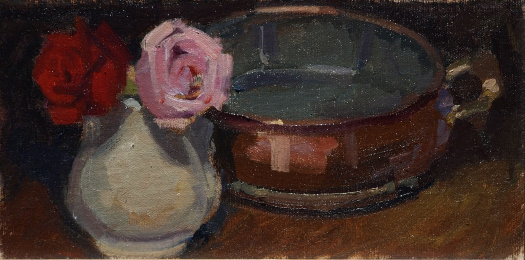 Roses and Copper, Oil on Canvas on Panel, 6 x 12 Inches, by Susan Grisell, $150