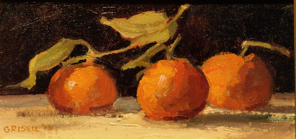 Three Mandarins, Oil on Canvas on Panel, 6 x 12 Inches, by Susan Grisell, $200