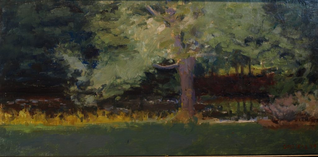 Tree and Pond, Oil on Canvas on Panel, 12 x 24 Inches, by Susan Grisell, $550