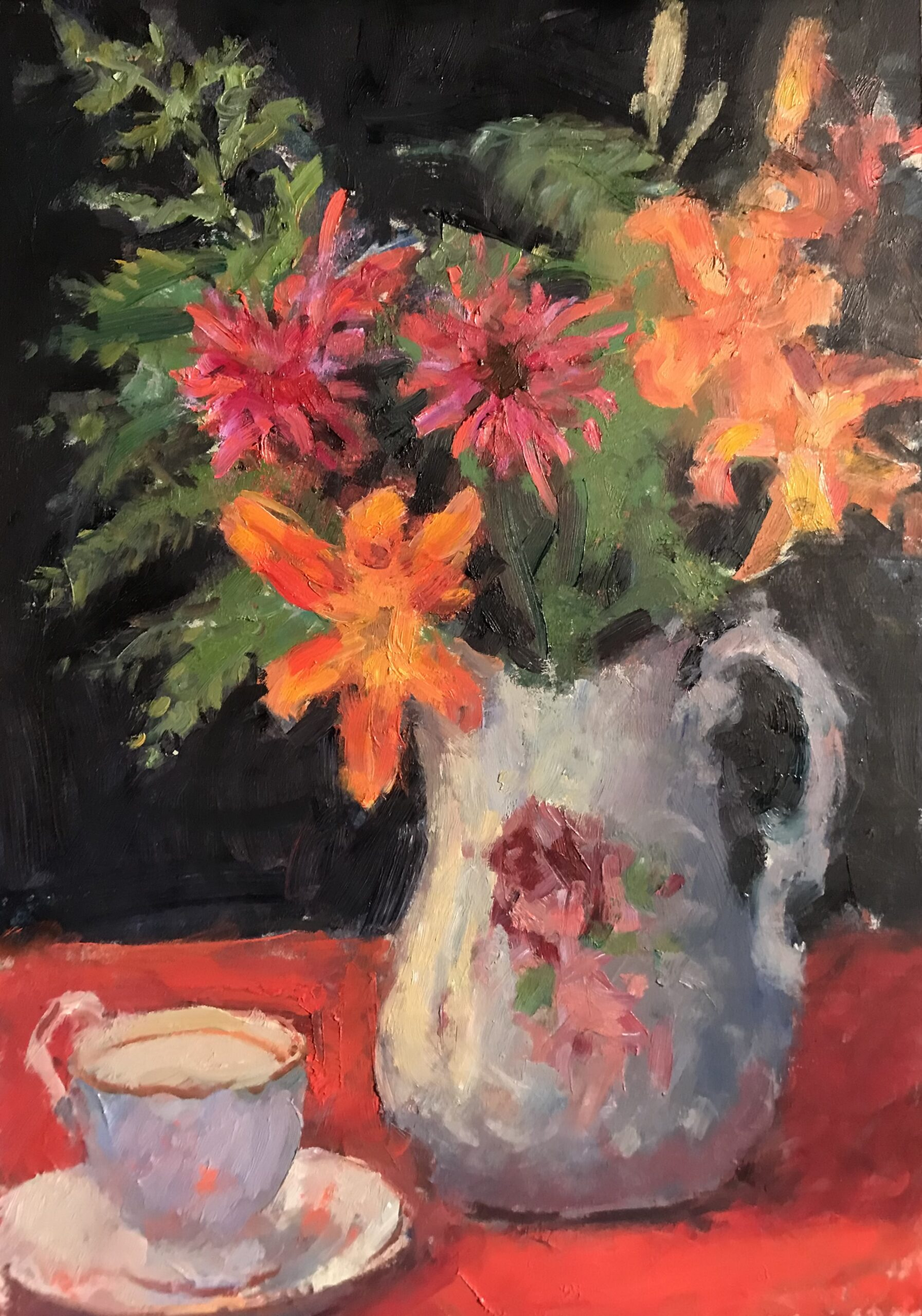 """""""Daylilies and Bee Balm"""", Oil on Panel, 18 x 12 Inches, by Susan Grisell $325"""