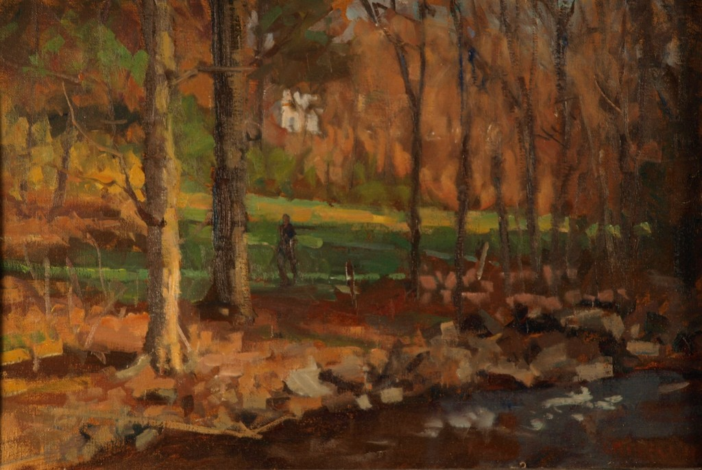 Across the Brook, Oil on Canvas on Panel, 12 x 18 Inches, by Susan Grisell, $275