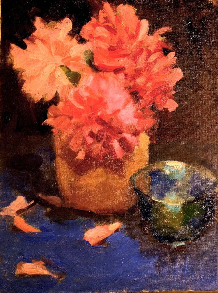 Peonies and Blue Dish, Oil on Canvas on Panel, 16 x 12 Inches, by Susan Grisell, $275