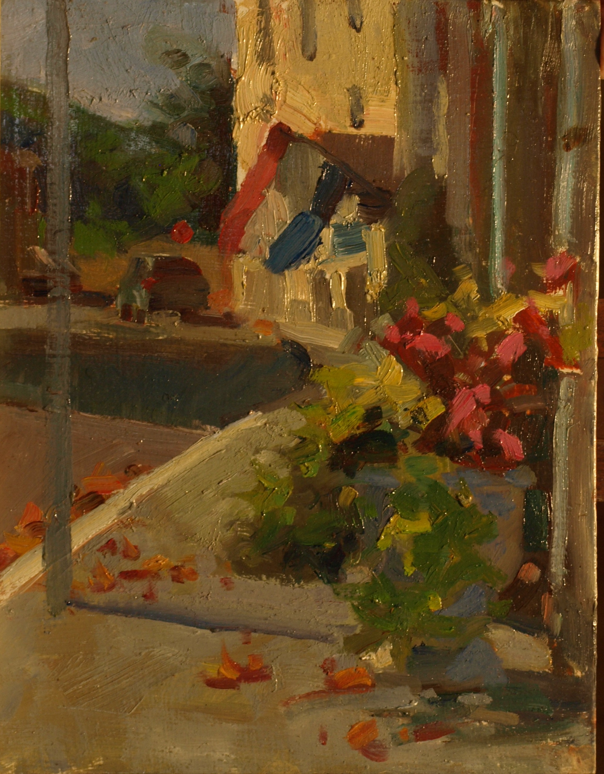 Planter -- Church Street, Oil on Panel, 10 x 8 Inches, by Susan Grisell, $165