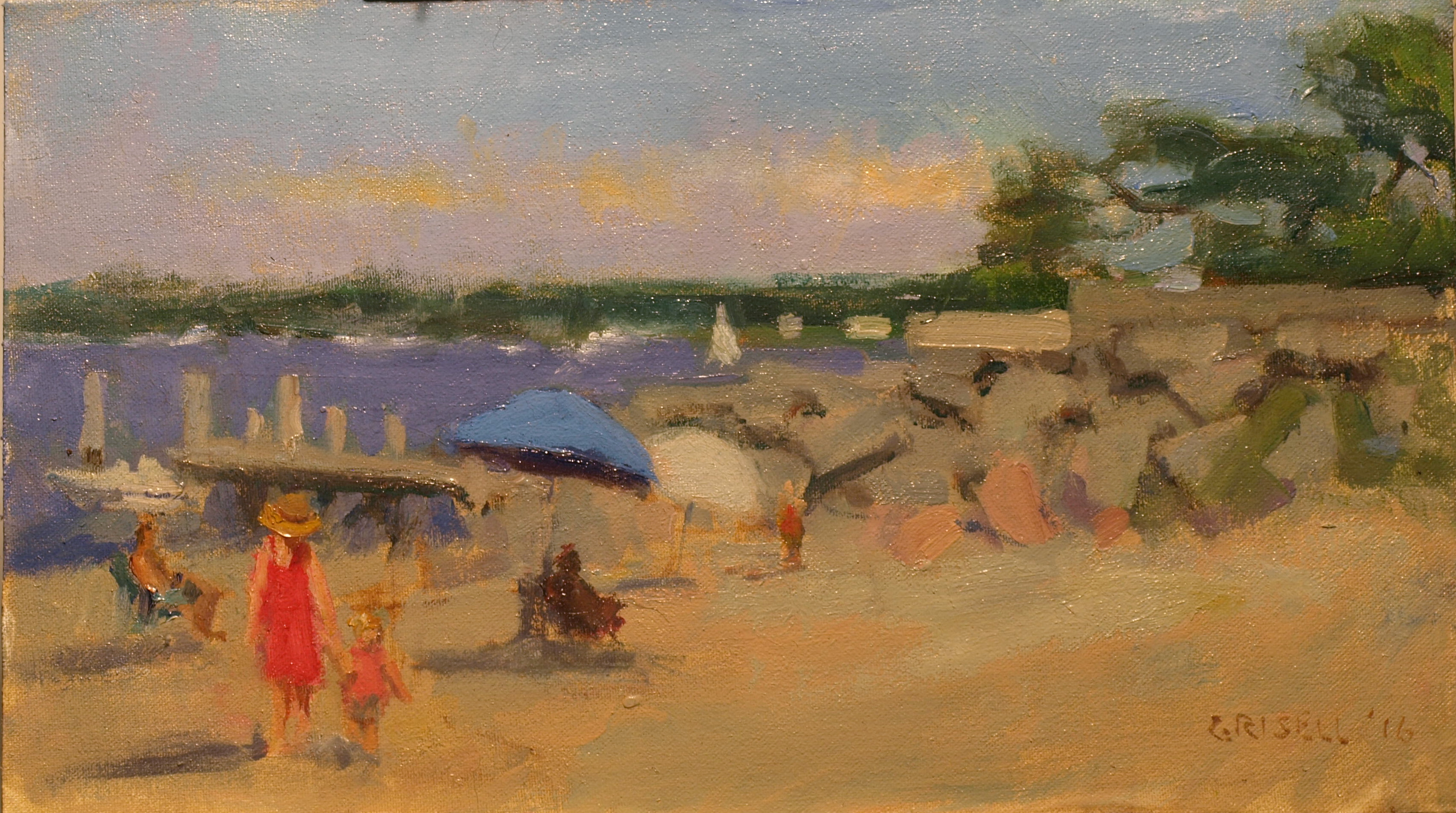Stonington Beach, Oil on Canvas on Panel, 9 x 16 Inches, by Susan Grisell, $275