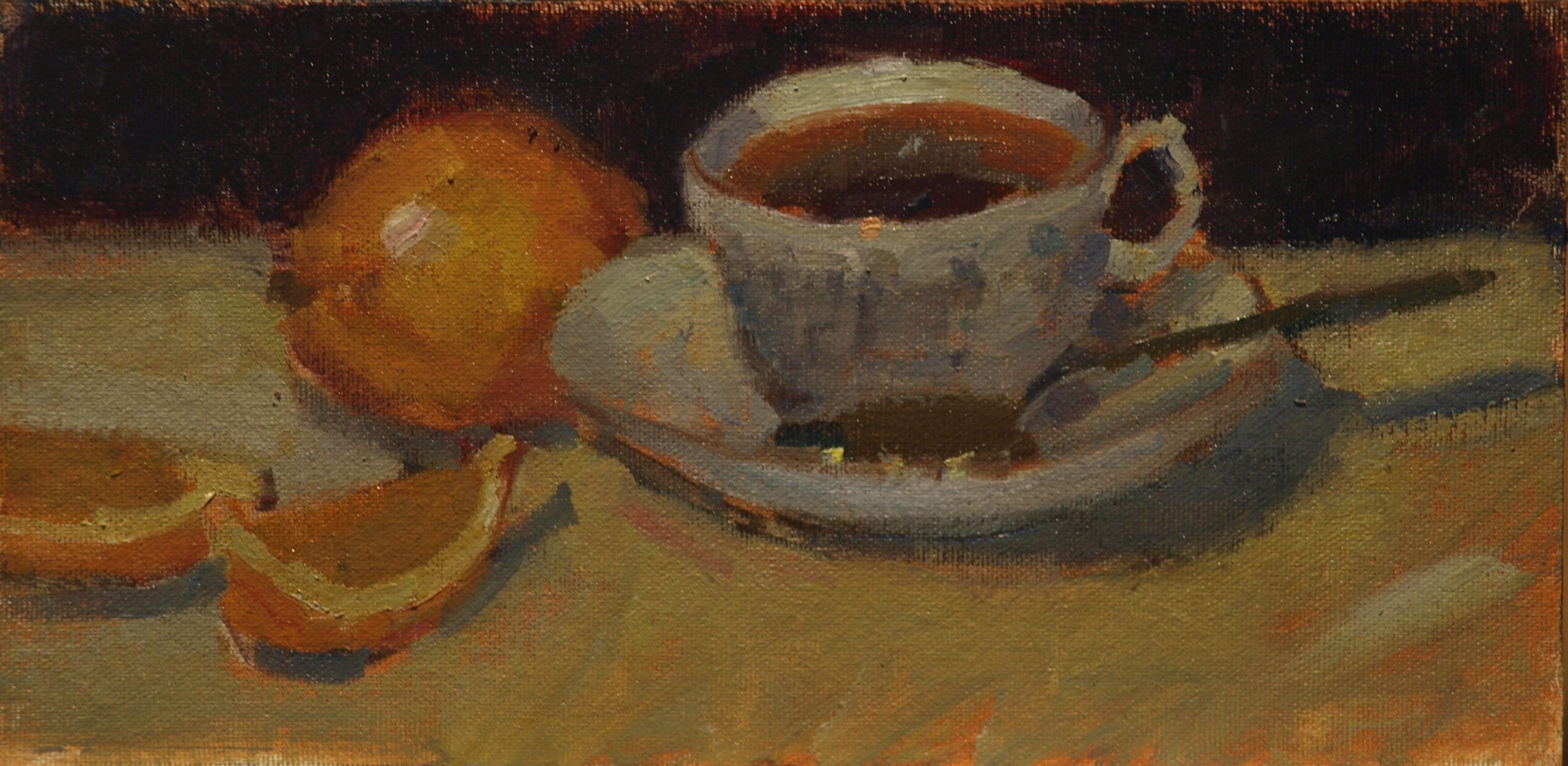 Tea with Lemon, Oil on Canvas on Panel, 6 x 12 Inches, by Susan Grisell, $150