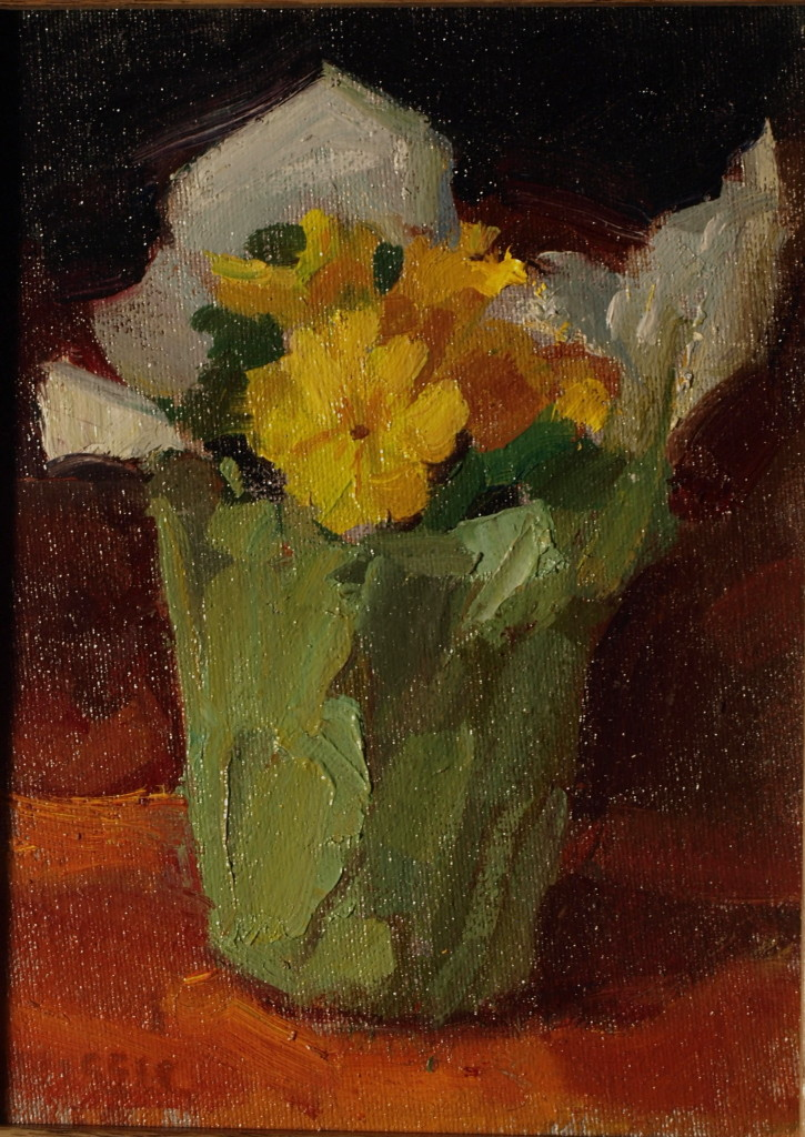 Yellow Primrose, Oil on Canvas on Panel, 10 x 8 Inches, by Susan Grisell, $150