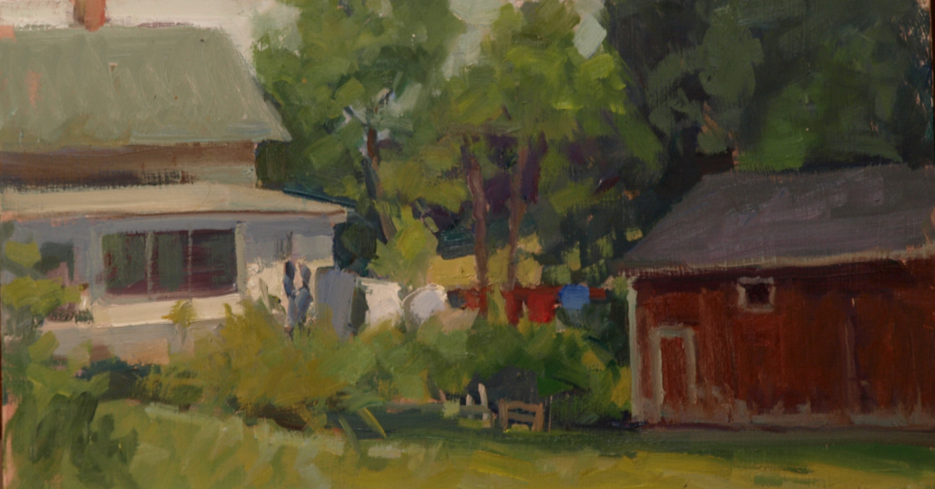 Washing Day, Oil on Panel, 9 x 16 Inches, by Susan Grisell, $300
