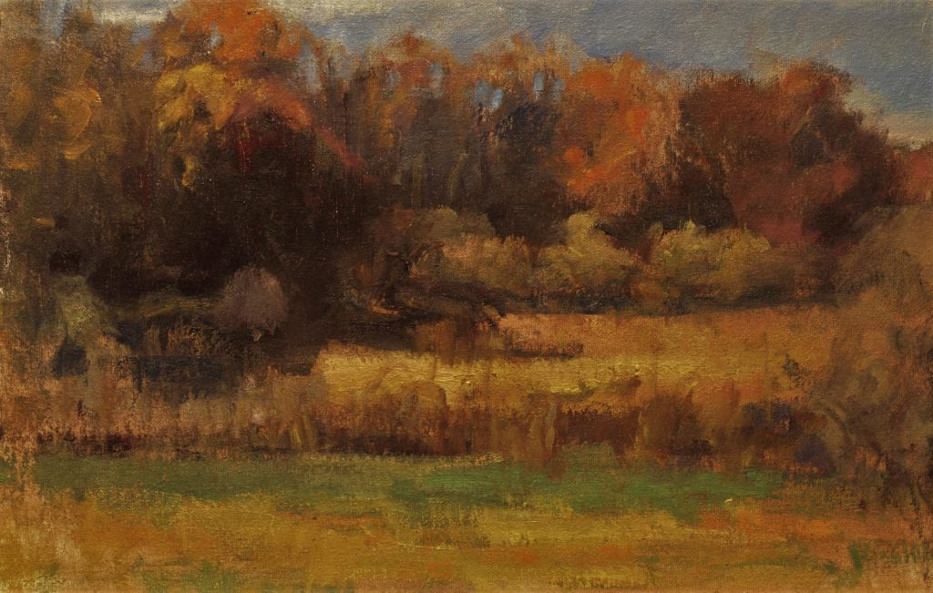 Across the Fields, Oil on Canvas on Panel, 12 x 18 Inches, by Susan Grisell, $325
