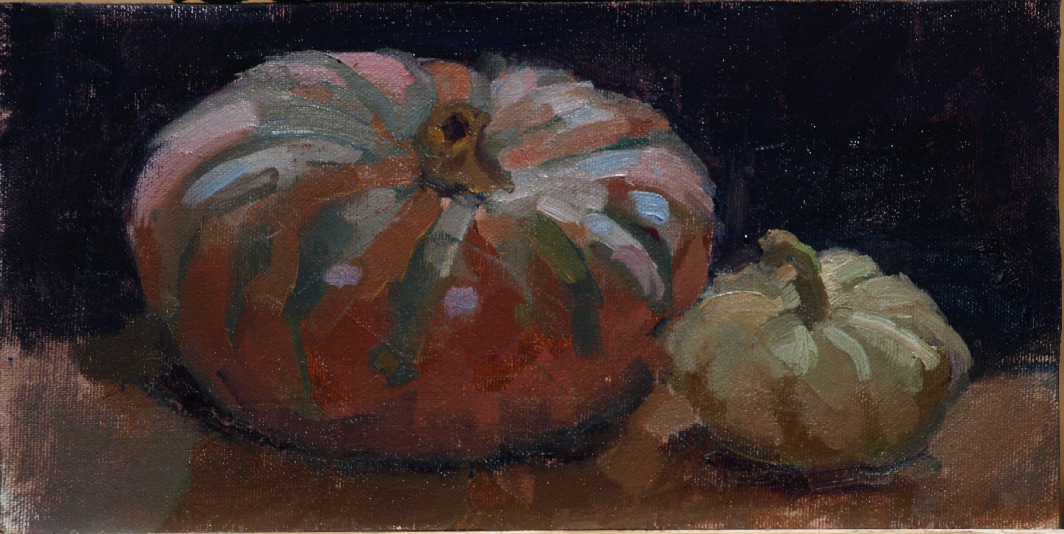 Heirloom Squash, Oil on Canvas on Panel, 6 x 12 Inches, by Susan Grisell, $150