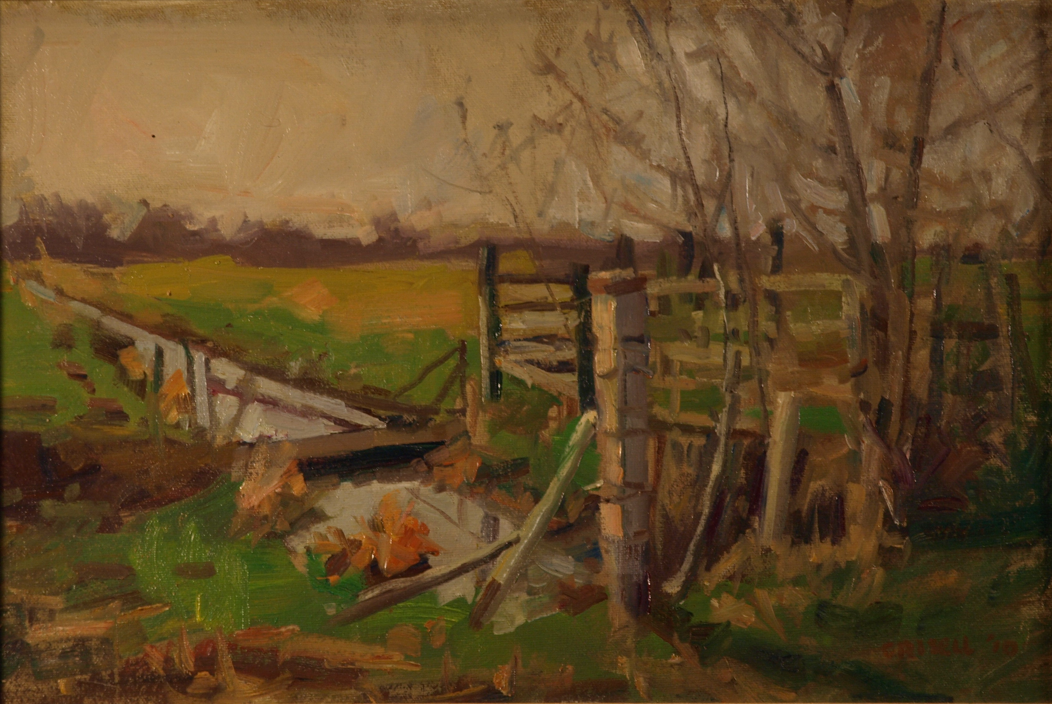 Lowland - France, Oil on Canvas on Panel, 12 x 18 Inches, by Susan Grisell, $275